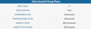 How much does Zoho Social cost?