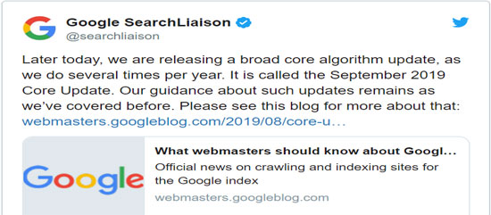 Google released core update announcement onTwitter