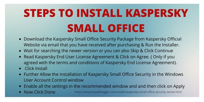 Steps to Install Kaspersky Small Office Security Server