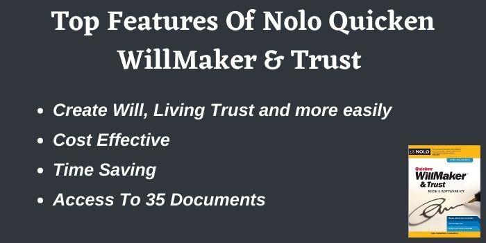 Features of Quicken WillMaker & Trust